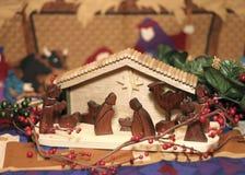 Wooden Nativity Scene. A wooden nativity scene on a nativity scene backdrop Stock Image