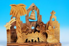Wooden nativity scene. Stock Images