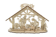 Wooden nativity scene ornament Royalty Free Stock Images