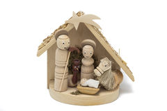 Wooden nativity scene. Wood drilled christmas decoration in little stall royalty free stock photos