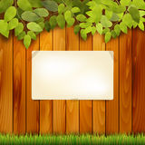 Wooden natural background and paper board for text Royalty Free Stock Images