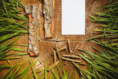 Wooden natural background and paper board for text Stock Photos