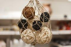 Wooden natural interior decorative wicker balls, close-up. Wooden natural interior decorative wicker balls Royalty Free Stock Photo