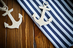 Wooden nautical anchor Royalty Free Stock Photos