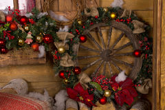 Wooden Nautical Ship Wheel Christmas Wreath Stock Images