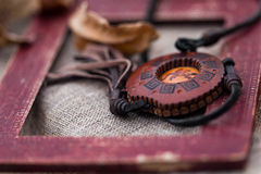 Wooden necklace Royalty Free Stock Photography