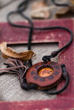 Wooden necklace Stock Photos