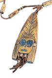 Wooden necklace with pendant of African woman Royalty Free Stock Images