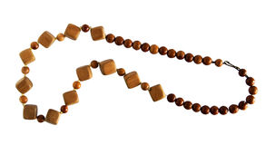 Wooden necklace on white Royalty Free Stock Photography