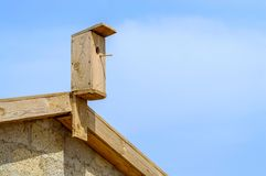 Wooden nesting box stock images