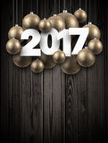 Wooden 2017 New Year background. Wooden 2017 New Year background with golden Christmas balls. Vector illustration Stock Images