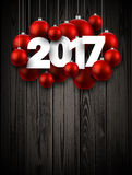 Wooden 2017 New Year background. Wooden 2017 New Year background with red Christmas balls. Vector illustration Stock Photos