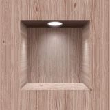 Wooden niche for presentation. Cubic wooden niche in the wall lighted lamp royalty free illustration