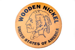 Wooden Nickel Royalty Free Stock Images