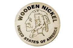 Wooden Nickel Stock Photo