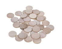 Wooden Nickels with Space for Symbol. An array of blank wooden nickels with space for your symbol or image - path included royalty free stock images