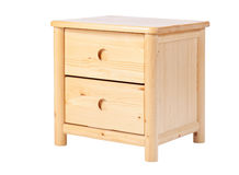 Wooden nightstand isolated over white Stock Image