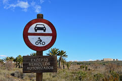 Wooden No Vehicle Sign Stock Images