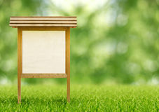 Wooden notice board. In a public park stock photo
