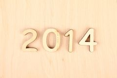 Wooden number in 2014. New Year Stock Photos