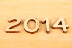 Wooden number in 2014. New Year Royalty Free Stock Image