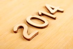 Wooden number in 2014. New Year Royalty Free Stock Photo
