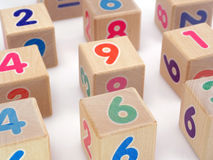 Wooden number blocks Royalty Free Stock Photos