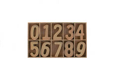 Wooden number. In the box Royalty Free Stock Image