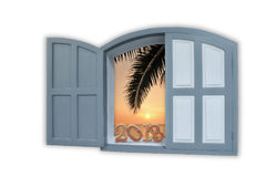 Wooden number 2018 on classic grey window left ajar with sunrise Stock Images