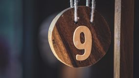 Wooden Number 9 In Coffee Shop stock image