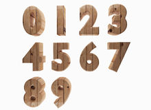 Wooden number in 3D render image Stock Image