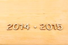 Wooden Number In 2014 - 2015. New Year Royalty Free Stock Photography