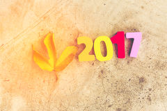 Wooden number of 2017 for new year celebrations Royalty Free Stock Image