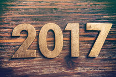 Wooden number 2017 Stock Photo