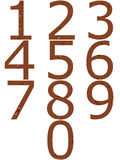Wooden Numbers. Isolated in white Royalty Free Stock Photo