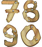 Wooden numbers. Numbers made of wooden planks Royalty Free Stock Images
