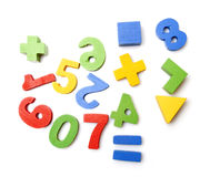 Wooden numbers. On white background Royalty Free Stock Photos