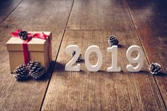 Wooden numbers forming the number 2019, For the new year 2019 on stock images