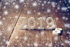 Wooden numbers forming the number 2019, For the new year 2019 on stock photos