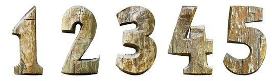 Wooden numbers isolated on a white background 12345 Royalty Free Stock Photos