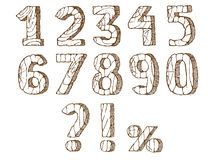Wooden numbers set. Brown Wooden numbers set. Hand drawn vector illustration. Isolated on white Stock Illustration