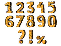 Wooden numbers set. Hand drawn vector illustration. Isolated on white Royalty Free Illustration