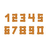Wooden numbers set. Isolated on white background Stock Illustration