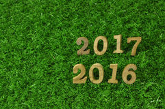 2016 and 2017 wooden numbers style Stock Images