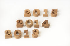 2013, 2014 and 2015 wooden numbers style Stock Photo