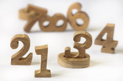 WOODEN NUMBERS STYLE Stock Images