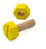 Wooden nut and bolt Royalty Free Stock Image