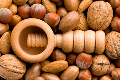 Wooden nutcracker and nuts Stock Image
