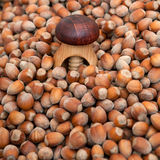 Wooden nutcracker on a pile of nuts Royalty Free Stock Photo