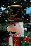 Wooden Nutcracker statue in colorful regalia from Christmas fairy tale story. Singapore - December 7, 2016: A wooden replica model statue of the Nutcracker Royalty Free Stock Photography
